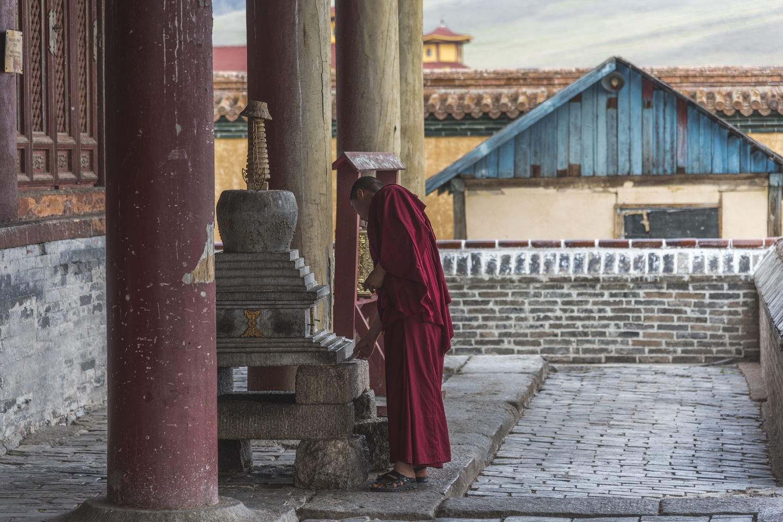 Monkh at Erdene zuu Monastery in Central Mongolia