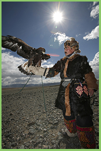 Eagle hunter in western Mongolia, hunting with eagle tradition