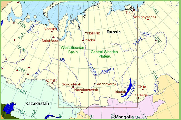 Map of Siberia, Siberian Map, Siberia travel map